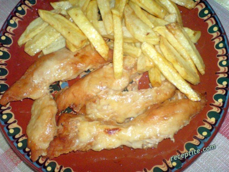 Снимки към Сладко-кисели пилешки филенца