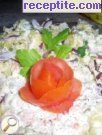 Colorful potato salad with mayonnaise and puree