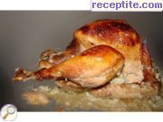 Stuffed turkey, spread with honey and juice of sauerkraut