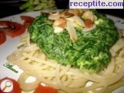 Spinach sauce with almonds pasta, lasagna and pizza