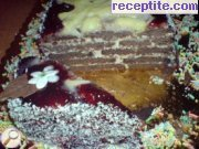 Biscuit layered cake with margarine and walnuts