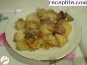 Chicken liver with potatoes in the oven