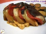 Fans of eggplant with smoked meat