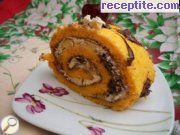 Peach roll with cream and chocolate spread