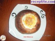 Stuffed bread with ragout and egg