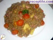 Lentils with smoked bacon, apple and cherry tomatoes