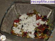 Colorful salad with roasted peppers and beans