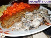 Roasted minced meat baked with tomatoes