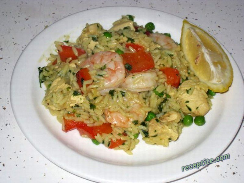 recipe Paella with chicken and seafood