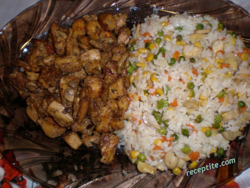 Rice with vegetables and meat Chinese | Verified recipe by The Happy ...