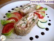 Eggplant rolls with ham and garlic cream