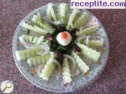 Salad of cucumber and cheese