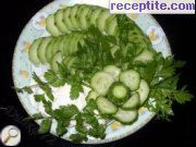 Salad with fresh cucumber puree