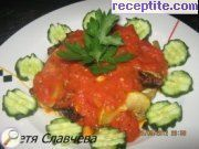 Fried zucchini in tomato sauce