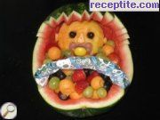 Fruit salad in watermelon basket
