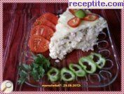 Appetizer with ham, cream and rice