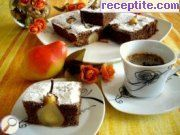 Chocolate cake with pears
