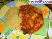 Bulgarise Moroccan chicken with couscous garnish