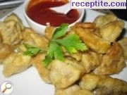 Breaded pork with ketchup