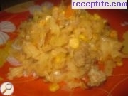 Fresh cabbage with minced meat and corn