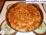 Banitsa of pastry with cheese bathed
