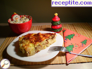 Moussaka with minced meat and potatoes without frying