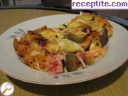Lasagna with ham, mushrooms and pickles