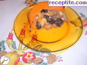 Stuffed pumpkin with fruit, rum and coconut