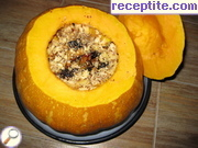 Stuffed pumpkin with fruit and walnuts