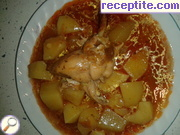 Stew potatoes with chicken