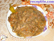 Steak stew with processed cheese, carrots and onions