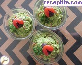 Salad with avocado, tomatoes and green onions