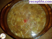 Lentil soup with potatoes and noodles