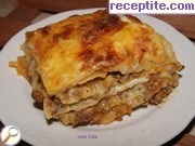 Lasagna with two sauce and mushrooms in the middle