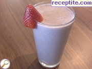 Strawberry smoothie with chocolate soy milk