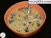 Rich chicken soup with nettle