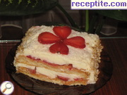 Strawberry layered cake with vanilla cream cream