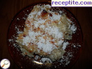 Macaroni baked with eggs and sugar