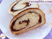 Kozunak roll with nuts and cocoa