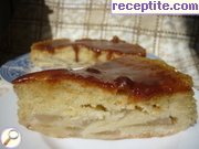 French cake with pears and caramel sauce