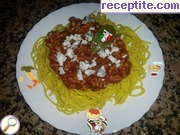 Spaghetti in tomato sauce with minced meat