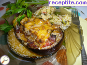Stuffed eggplant with minced meat and tomatoes