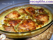 Chicken with processed cheese and mushrooms