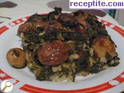 Rice with spinach and mushrooms