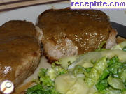 Pork steak with blue cheese sauce