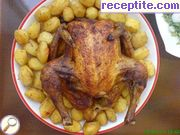 Roasted chicken with baby potatoes and beer