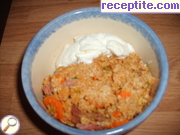 Pilaf of oat grains with smoked pork neck