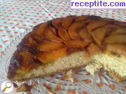 Cake with caramel and nectarines