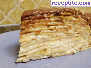 Палачинкова торта с крем, шоколад и банан